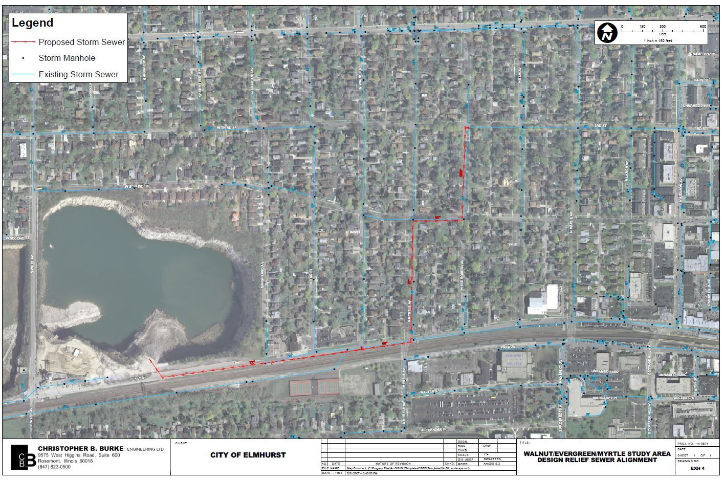walnut-myrtle-evergreen proposed stormsewer